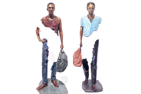 Antique bronze sculpture Bruno Catalano marseile for yard decor