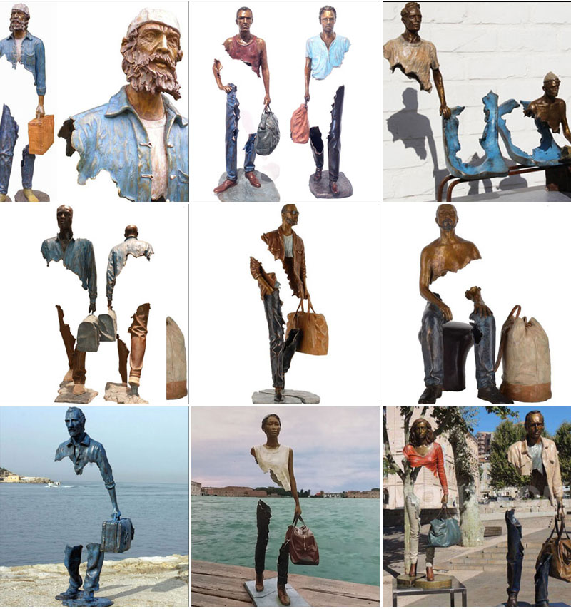 Outdoor Bronze Traveler Sculptures