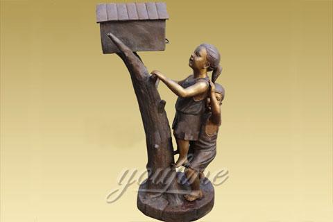 Outdoor Bronze mailbox sculpture with kids  sculptures for sale