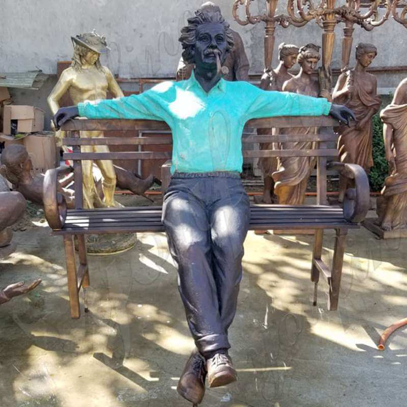 Life Size Customized Made Famous Figure Bronze Einstein Statue Sitting on the Chair
