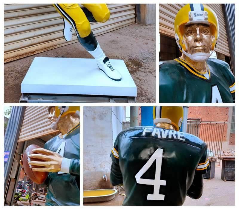 Custom Made Bronze Football Man Sculpture for Sale