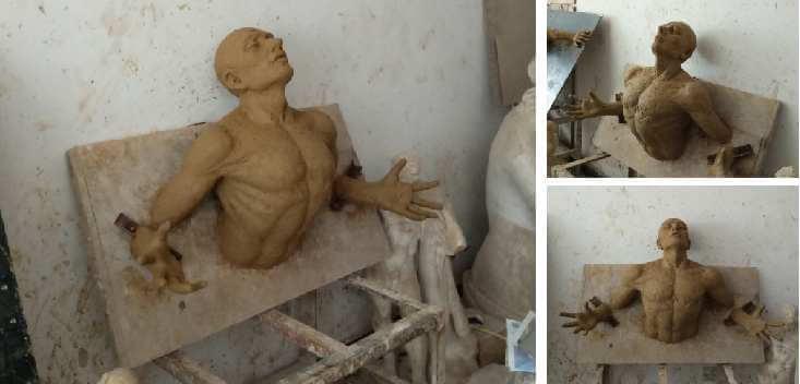 Life Size Famous Bronze Wall Figure Sculpture